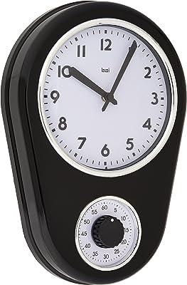 Bai Retro Kitchen Timer Wall Clock, Black