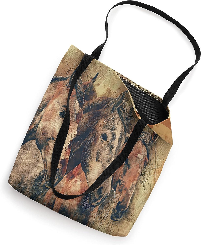 Western Watercolor Horses Tote Bag