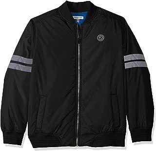 Boys' Big Varsity Track Jacket, Black, Medium (10/12)