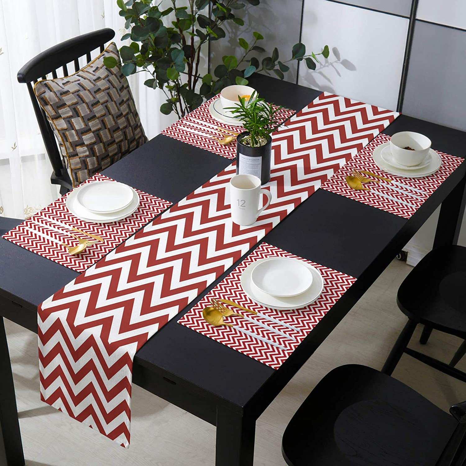 Placemats OFFicial mail order Set We OFFer at cheap prices of 4 with Table for Dining L Runner Kitchen