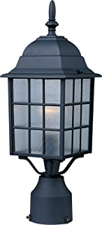 Maxim 1052BK North Church 1-Light Outdoor Pole/Post Lantern, Black Finish, Clear Glass, MB Incandescent Incandescent Bulb , 25W Max., Dry Safety Rating, 2900K Color Temp, Standard Dimmable, Glass Shade Material, 5520 Rated Lumens