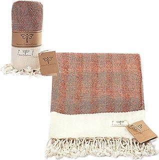 Smyrna Original Turkish Throw Blanket Herringbone Series | 100% Cotton, 50 x 60 Inches | Vintage Boho Throw Blankets for C...