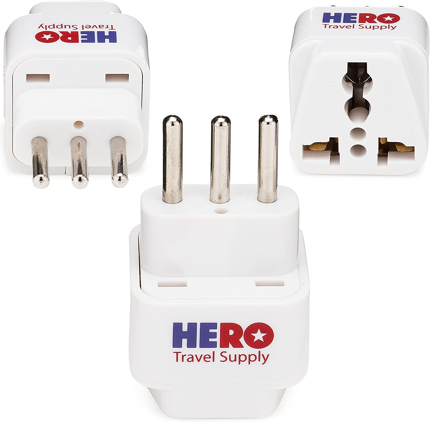 Premium US to Italy Power Adapter Plug (Type L, 3 Pack, Grounded)