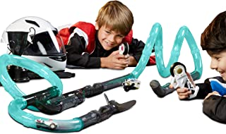 FAO Schwarz 31Piece Glow-in-The-Dark Turbo Tube Racers Race Track Set for Kids with Two Mini Red & Blue Rc Cars & Two Remote Controls for Multiplayer Racing, Construct Your Own Driving Course