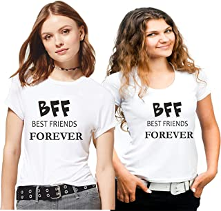 Hangout Hub Family-Friends- Women's Cotton Printed Regular Fit T-Shirts (Pack of 2) BFF Best Friends Forever