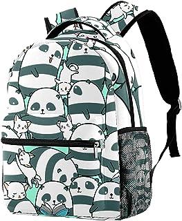 حقيبة ظهر كاجوال حقيبة كتب للمدرسة الثانوية والتنزه سيرًا على الأقدام والتخييم Daypack الباندا والقطط المضحكة