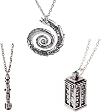 Doctor Who 4 Pack Different Necklace  Wibbly Wobbly Timey Wimey Pendant 11th Doctor Sonic Screwdriver Pewter Finish PENDANT Necklace Inspired 3D Police Box  Chain