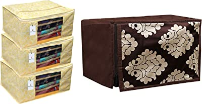 Kuber Industries 3 Pieces Non Woven Wardrobe Organizer Saree Cover Set, Gold & Cotton 1 Piece Microwave Oven Cover 20 LTR (Dark Brown) -CTKTC05703 Combo