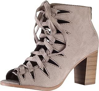 SODA Women's Hewitt Lace Up Peep Toe Zip Back Stacked Heel Boot