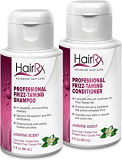 HairRx Professional Frizz-Taming Shampoo & Conditioner Travel Set, Light Lather, Jasmine Scent, 2 Ounce Bottles