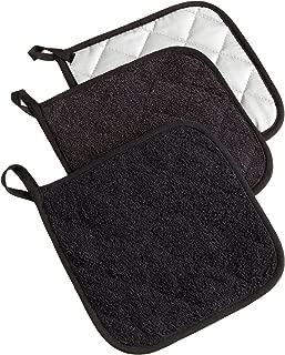 DII 100% Cotton, Terry Pot Holder Set, Potholder, Black, 3 Piece
