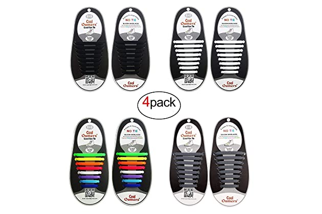 840719ad9 Amazon.com: Oumers 4 Pairs No Tie Shoelaces for Adult, Lazy Tieless  Silicone Shoelaces Rubber Sneaker Shoelaces, Great Idea As a: Clothing