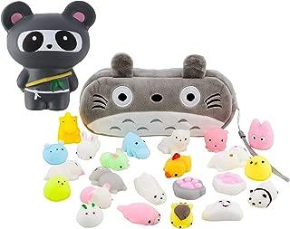 Mochi Squishy Toys 10-Pcs + FREE Kawaii Cat Bag + Jumbo Panda Ninja Squishy| Random Package of Mini Variety Animals Squishies Case| Cute Box of Animal Toy Set| Fun Girls+Boys Birthday Present Idea