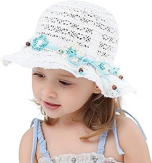 Sombrero para el Sol Niña Sombrero de Paja Encaje Princesa Vacaciones Sombrero de Pesca Protección UV Plegable Bebé Niños ...