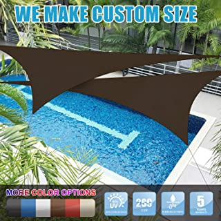 Amgo 20' x 20' x 20' Brown Triangle Sun Shade Sail Canopy Awning, 95% UV Blockage Water & Air Permeable, Commercial & Residential, for Patio Yard Pergola, 5 Yrs Warranty (Available for Custom Sizes)