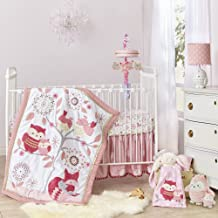 Happi by Dena Woodland Couture Forest Animals 3 Piece Crib Bedding Set, Pink/White