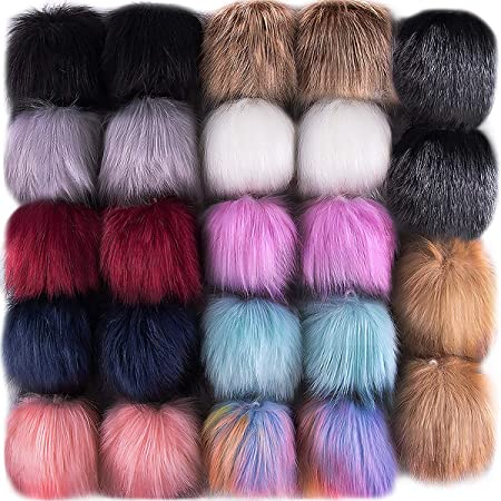 Krisler DIY Faux Fox Fur Fluffy Pom Pom Ball Add Elastic Loop for Bags Hats Gloves Shoes Scarves Key Chains DIY Decoration Gift 12 pcs 4 inch 6 Colors 2 Pcs for Each Color