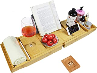 BRITOR Bathtub Caddy Trays, Expandable Bath Tray for Tub with Extending Sides,Cellphone Tray and Wineglass Holder, Tablet ...