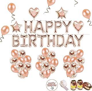 iZoeL Anniversaire Ballon Rose Kit Guirlande Happy Birthday Ballon, 15 Ballons Confettis Rose Or, 36 Latex Ballon Rose Or,...