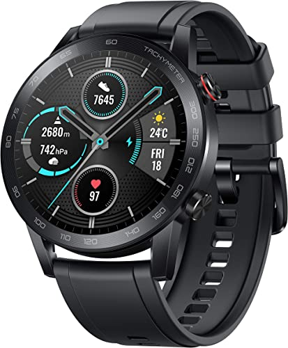 HONOR Magic Watch 2 46Mm Charcoal Black 14 Days Battery Spo2 BT Calling Music Playback AMOLED Touch Screen Personalized Watch Faces 15 Workout Modes Sleep HR Monitor Smart Assistant