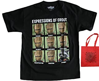 Guardians of The Galaxy Groot Expressions Big Boys' T-Shirt & Tote Bundle Set