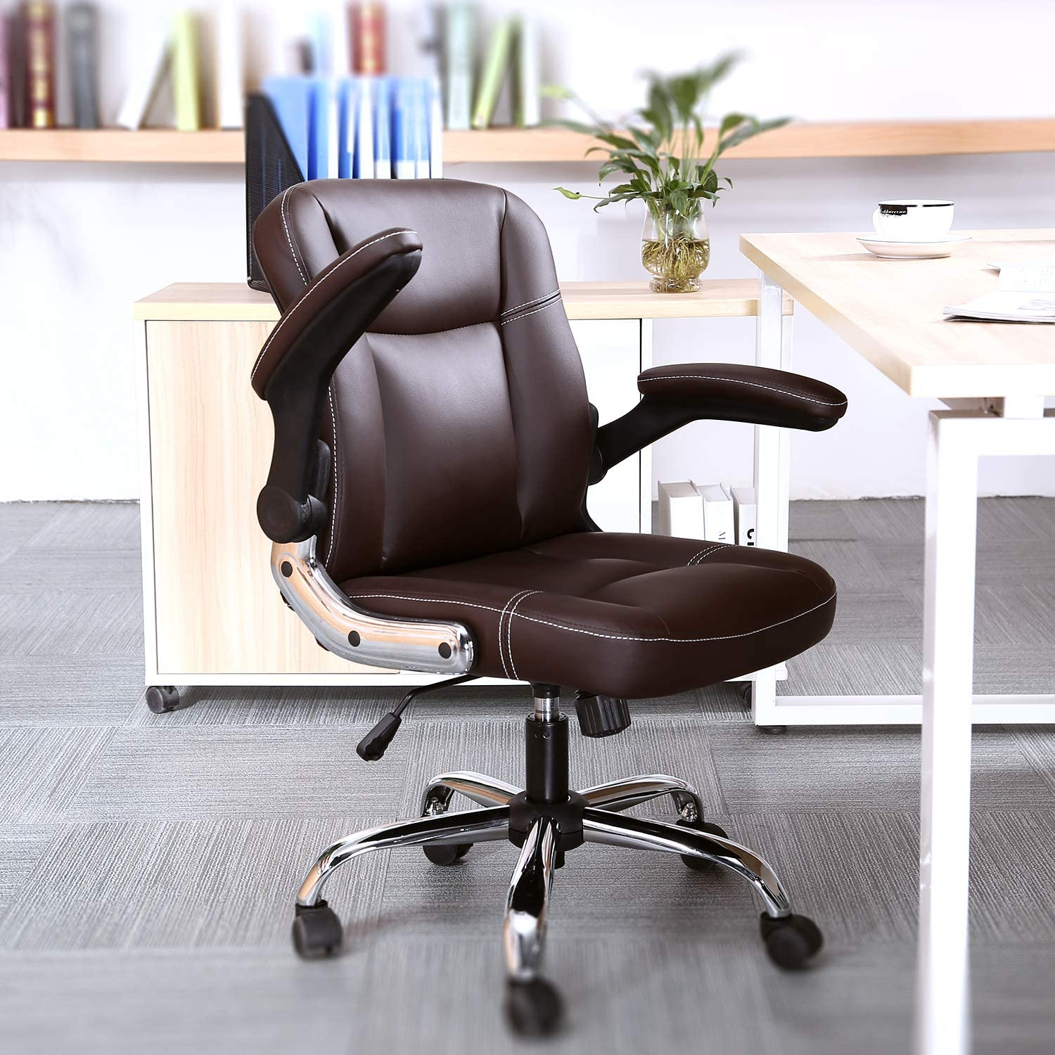 SP Mid-Back Ergonomic Office Faux Executive Com Max 56% OFF Weekly update PU Chair Leather