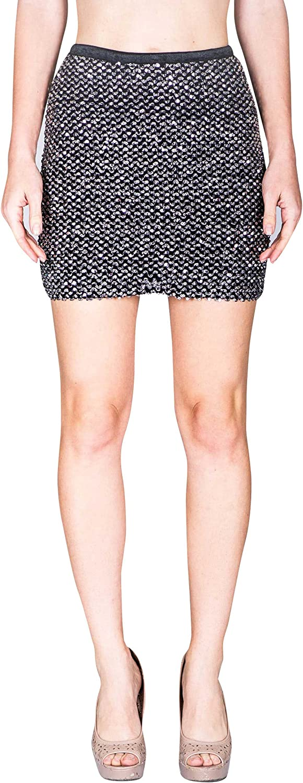 VIRGIN ONLY Women's Sequins Mini Skirt