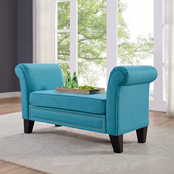 Modway Rendezvous Upholstered Living Room Or Entrway Bench In Pure Water With Rolled Arms And Nailhead Trim