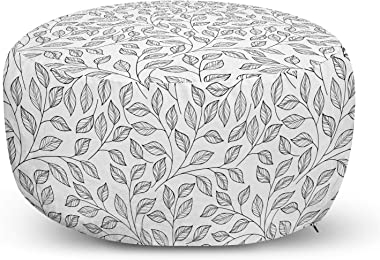 Ambesonne Leaves Ottoman Pouf, Hand Drawn Style Simple Minimalist Floral Pattern Rustic Country Life Inspiration, Decorative