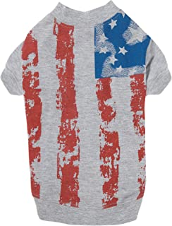 """Zack & Zoey America's Pup Flag-Print Tee Shirt for Dogs, 14"""" Small/Medium, Gray"""