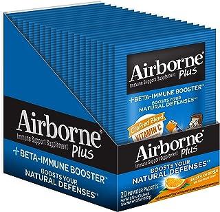 Airborne Plus Beta-Immune Booster Zesty Orange Powder Packets, Vitamin C Immune Support Supplement, 20 Count