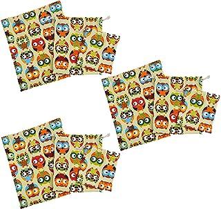 HUI JIN Sac de rangement en toile avec cordon de serrage, 9 pièces, motif hibou, organisateur, sac en toile
