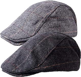 1-2 Pack Newsboy Hat for Men Classic Herringbone Tweed Wool Blend Flat Cap Ivy Gatsby Cabbie Driving Hat