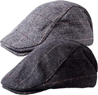 1-2 Pack Newsboy Hat for Men Classic Herringbone Tweed Wool Blend Flat Cap Ivy Gatsby Cabbie Driving Hat