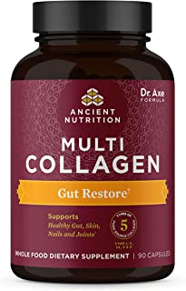 Multi Collagen Protein Capsules, Gut Restore, Collagen Pills with Probiotics Formulated by Dr. Josh Axe, 5 Types of Food S...