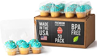 Royalux Cupcake Containers Plastic Disposable (50-Pack) - BPA Free Cupcake Boxes 6 Cavity - USA Made Cupcake Holder Carrier – High Dome Cupcake Container - Cupcake Holders Disposable Cupcake Carrier