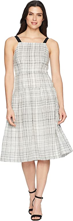 Plaid Linen Drop Waist Dress with Contrast Straps