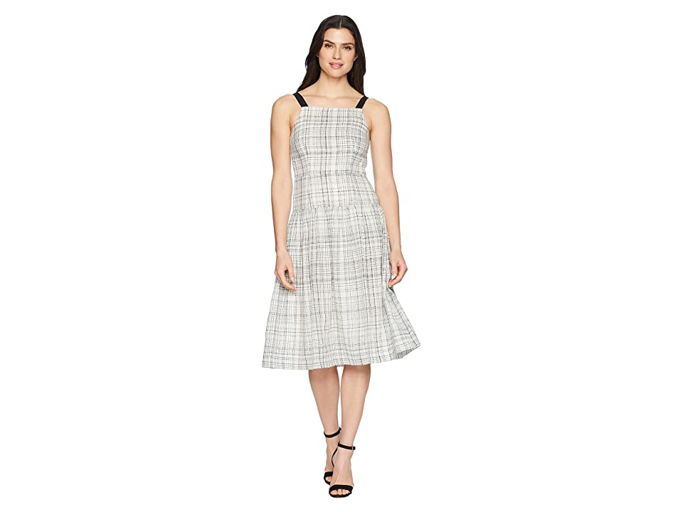 Donna Morgan Plaid Linen Drop Waist Dress with Contrast Straps (Ivory/Black) Women