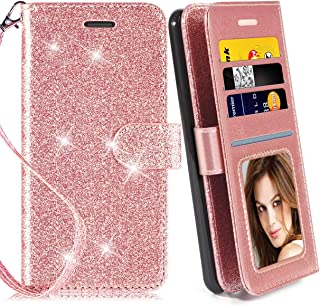 RioGree for LG K40 Case/Xpression Plus 2 / X4 / K12 Plus/Solo LTE/Harmony 3 Phone Wallet Purse with Screen Protector Leather Card Holder Slot Wrist Strap for Women Girls, Rose Gold