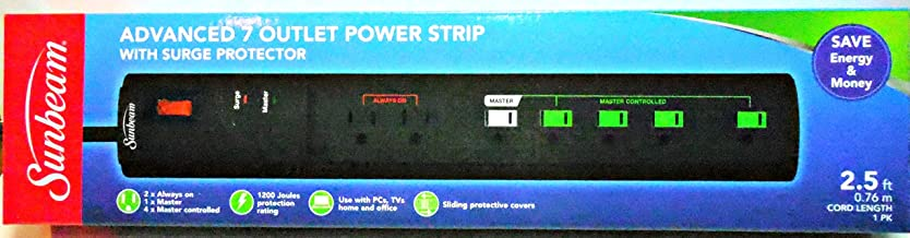 One (1) Sunbeam Advance 7 Outlet Power Strips with Surge Protector