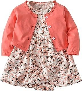 7c6a3e11c117a De feuilles Chic-Chic Ensemble Fille Bébé 2pc Mini Robe Manches Courte+  Cardigan Tricot Imprimé