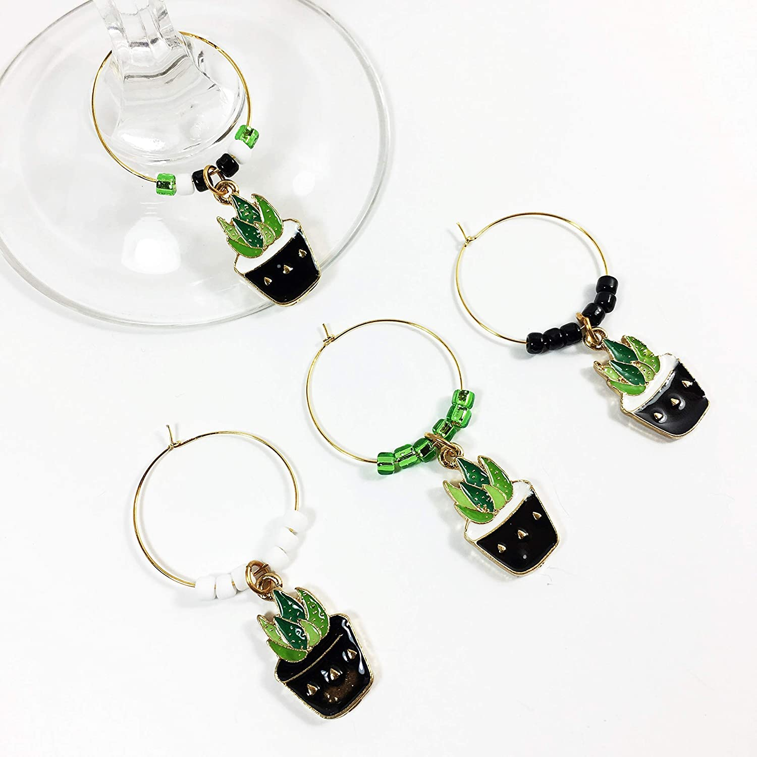 Cheap mail order specialty store Group Therapy Wine Succulent Charms 4 Gold Gla Great interest of Set
