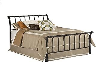 Hillsdale Furniture 1671BKR Janis Metal Sleigh Bed Set with Rails, King, Textured Black