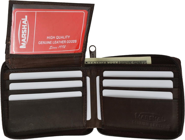Leather Bi-fold Mens Wallet Brown #1256CF
