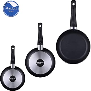 AMERICOOK Economic 3 piece, Nonstick Frying Pans Set, 8Inch, 10Inch, 12Inch, Pack of Aluminium Fry Pans, Nonstick Skillet for Various Cooking Tasks, Suitable for All Hobs EXCEPT Induction, Oven Safe