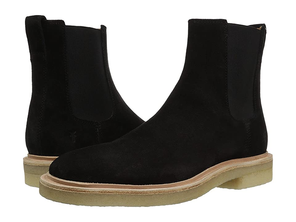 Frye Chris Crepe Chelsea (Black Washed Waxed Suede) Men