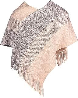 Girls Boho Plaid Knitted V- Neck Pullover Poncho Cardigan- Crochet Asymmetrical Warm Wrap Shawl w/Tassel Trim