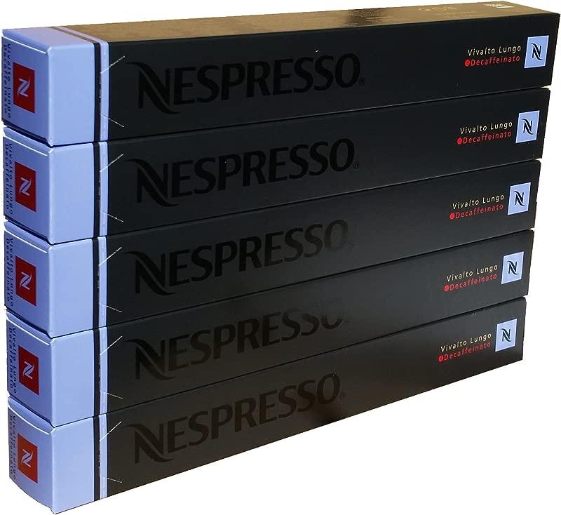 Nespresso Vivalto Lungo Decaffeinato OriginalLine Capsules 50 Count Decaf Espresso Pods Light Roast Intensity 4 Blend Light Roast Colombian Ethiopian Arabica Coffee Flavors