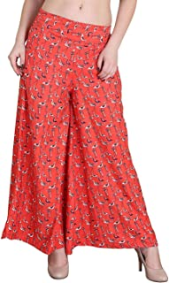Fraulein Women's/Girls Palazzos Red Duck Print Crepe Flared Bottom Trendy and Stylish Palazzos with One Pocket and Mesh In...