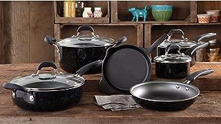 The Pioneer Woman Vintage Speckle 10-Piece Non-Stick Pre-Seasoned Cookware Set, Black